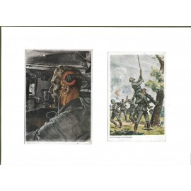 "ARTWORK POSTCARD ""Panzermann"". Two postcards."
