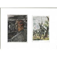 """ARTWORK POSTCARD """"Panzermann"""". Two postcards."""