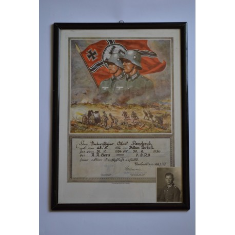 A Framed Certificate of Service in 7st Company of Riflemen Regiment 3.