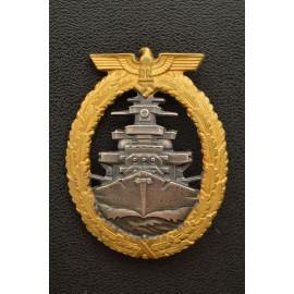 A Kriegsmarine High Seas Fleet Badge by Schwerin, Berlin.