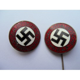 Two Party Badges marked RZM M1/62 by Gustav Hähl, Pforzheim and second marked RZM M1/128 by Eegen Schmidhaussler, Pforzheim.