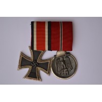 Two Medals Bar WWII - Iron Cross Second class 1939 and East Medal.