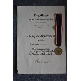 A Third Reich German War Merit Medal with Paper Award.