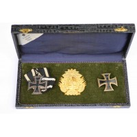 German. Iron Cross First Class 1914 and Second Class 1914 in Patriotic Box