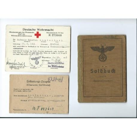 An Army Soldbuch Grenadier, Paramedic Certificate.