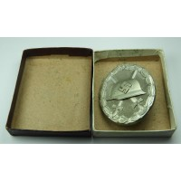 Wound Badge Silver marked 13 with case by Gustav Brehmer