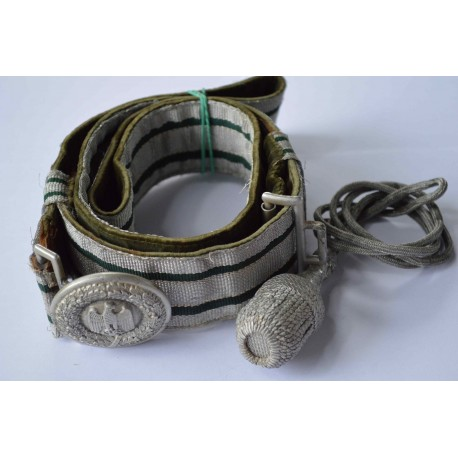 A German Army Officer's Brocade Belt and Buckle marked A maker Assmann with Portepee