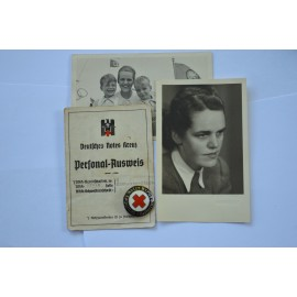 Set, German Red Cross Female Helper's Service Badge with Personal Ausweis and photos.
