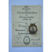 Germany, Kriegsmarine. A Minesweeper War Badge, by Otto Placzek