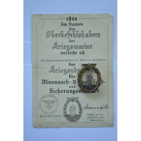 Germany, Kriegsmarine. A Minesweeper War Badge, by Otto Placzek