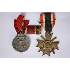 Set badges East Medal, War Merit Cross without swords and ribbon bar.