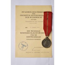 SET A 1941 - 42 EAST MEDAL MARKED 88 maker Werner Redo, Saarlautern with paper award.