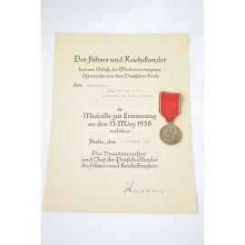 Set after Generalmajor Paul, Philipp Voit, Inspekteur der W.E.J Nurnberg, Paper Award with COMMEMORATIVE MEDAL 13 MARCH 1938.