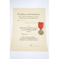 Set after Generalmajor Paul, Philipp Voit, Inspekteur der W.E.J Nurnberg Paper Award with COMMEMORATIVE MEDAL 1. OCTOBER 1938.