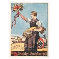 """III. Reich - colored propaganda postcard - """" Deutsches Erntedankfest """""""