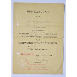 A Panzer Aufklärung Abteilung Division Großdeutschland - Gold Wound Badge Award Document