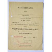A Panzer Grenadier Division Großdeutschland - Gold Wound Badge Award Document