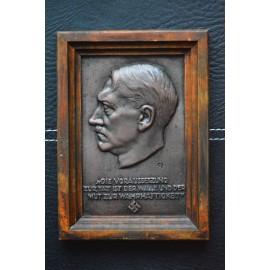 Bronze Zinc Plaque (v. Heinrich Moshage) Adolf Hitler