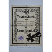 Iron Cross 2nd Class 1914 marked CD 800 By Carl Dillenius with paper award.
