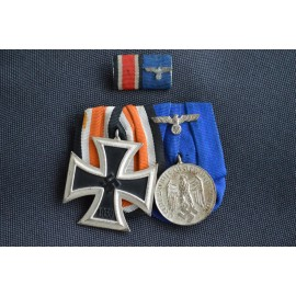 A Parade Mounted Second War German Medal Bar of Two Medals, Awards, and Decorations.