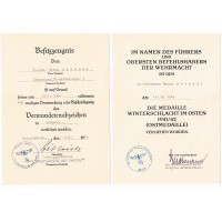 Two Award Documents to SS-Sturmmann Signed by Wilhelm Bittrich, SS Calvary Regiment 1.