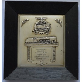 REICHSBAHN (RAILWAY) 25 YEAR LONG SERVICE PLAQUE.
